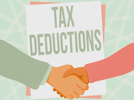 Text sign showing Tax Deductions. Business overview an amount or cost that subtracted from someone s is income Two Men Drawing With Empty Paper Shake Hands Presenting Agreement. Stock fotó