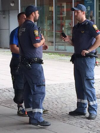 a watchman: Swedish guards on the street