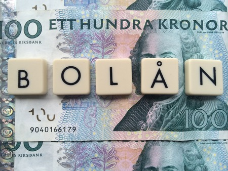 bank notes: the word house loan on Swedish bank notes Stock Photo