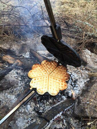 outdoor waffles baking
