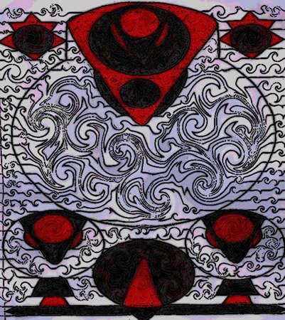 cartooned design with random shapes