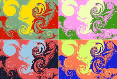 paintings: different color patterns in a pop art setting
