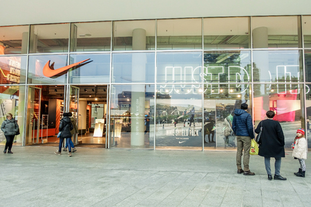 MILAN, ITALY - NOVEMBER 20, 2016:Nike young athletes concept store.Nike is one of famous sports fashion brands worldwide and it is one of the worlds largest suppliers of athletic shoes and apparel.