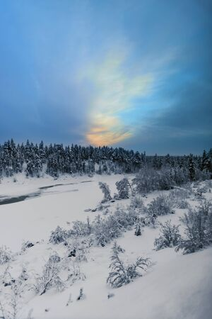 Snow covered trees on a hill overlooking a small valley under a beautiful sky