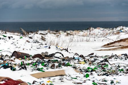 Illegal trash dump in the Arctic snow polluting the pristine environment Reklamní fotografie