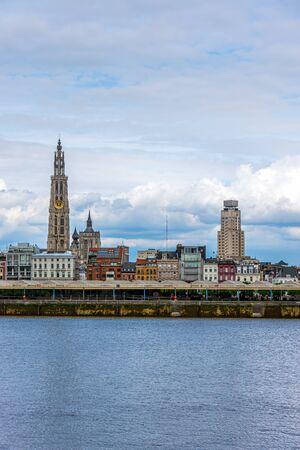 Antwerp skyline of the city center and the Scheldt river