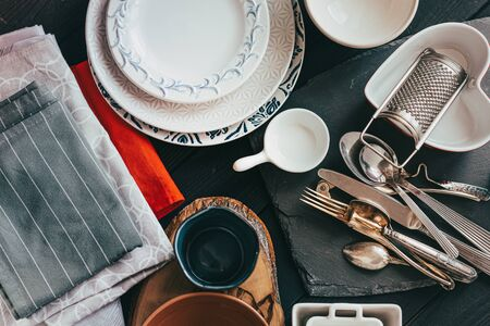 Old crockery and tableware can be used to decorate your table or serve as great props for food photography sets and flat lays