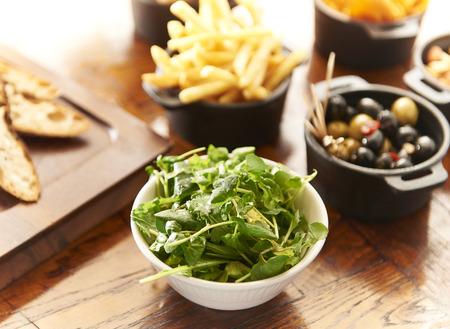 Salad in bowl finger food 스톡 콘텐츠