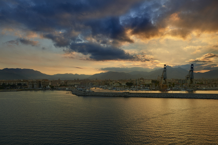 sunset over Palermo port