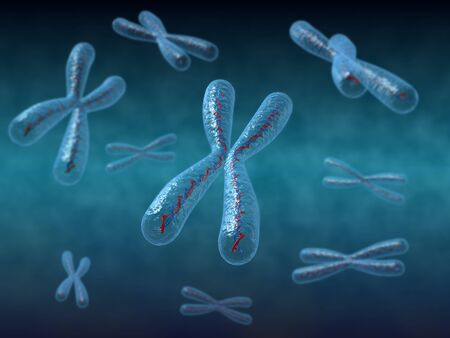 3D render of chromosome with DNA strand