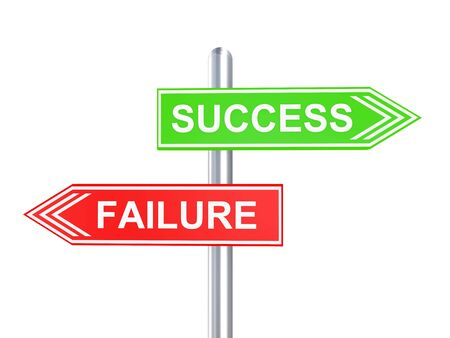 3D render of signboard showing success and failure
