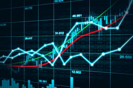 Grafico del mercato azionario o forex nel concetto grafico adatto a investimento finanziario o idea economica di tendenze economiche e progettazione di tutta l'opera d'arte. Sfondo astratto finanza