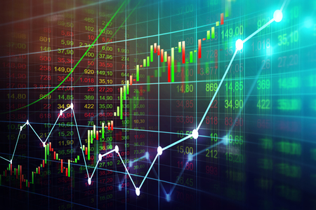 Stock market or forex trading graph in graphic concept suitable for financial investment or Economic trends business idea and all art work design. Abstract finance background Archivio Fotografico