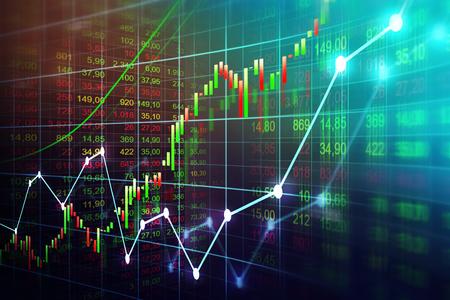 Marché boursier ou graphique de trading forex dans un concept graphique adapté aux investissements financiers ou aux idées économiques de tendances économiques et à la conception de toutes les ?uvres d'art. Résumé historique des finances