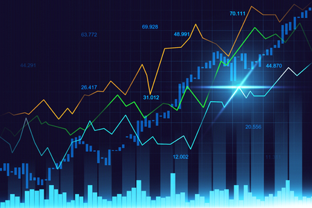 Stock market or forex trading graph in graphic concept suitable for financial investment or Economic trends business idea and all art work design. Abstract finance background 스톡 콘텐츠