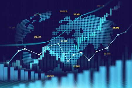 Marché boursier ou graphique de trading forex dans un concept futuriste adapté à l'investissement financier ou à l'idée commerciale de tendances économiques et à la conception de toutes les ?uvres d'art. Résumé historique des finances