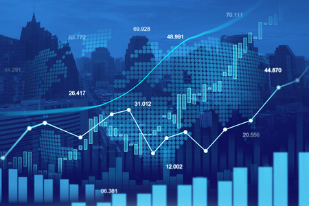 Stock market or forex trading graph in graphic double exposure concept suitable for financial investment or Economic trends business idea and all art work design. Abstract finance background Stock Photo