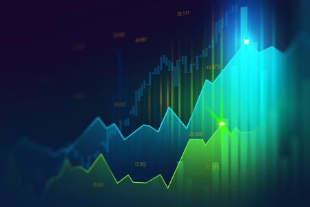 금융 투자 또는 경제 동향 사업 아이디어 및 모든 예술 작품 디자인에 적합한 그래픽 개념의 주식 시장 또는 외환 거래 그래프. 추상 금융 배경 스톡 콘텐츠