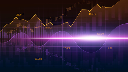 Stock market or forex trading graph in graphic concept suitable for financial investment or Economic trends business idea and all art work design. Abstract finance background Banco de Imagens