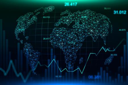 금융 투자 또는 경제 동향 사업 아이디어 및 모든 예술 작품 디자인에 적합한 미래형 개념의 주식 시장 또는 외환 거래 그래프. 추상 금융 배경