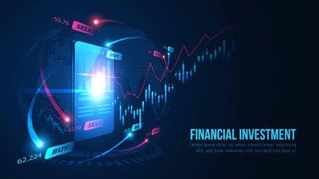 Stock market or forex online trading graph on smartphone concept. Vector illustration Vektorové ilustrace