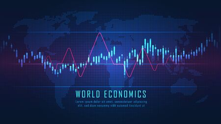World map with graph in futuristic concept suitable for financial investment or Economic trends business idea and all art work design. Abstract finance background Vector Illustration