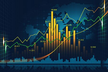 Stock market or forex trading graph in graphic concept suitable for financial investment or Economic trends business idea and all art work design. Abstract finance background Imagens