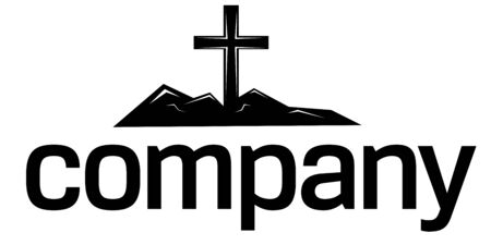 christian faith: Cross  silhouette logo