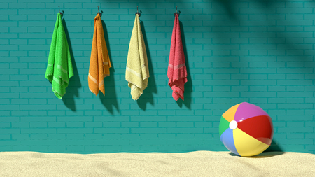Four colorful fluffy towels hanging on the turquoise brick-like wall with a beach ball on sand, symbolizes vacations, holidays, relaxation, playfulness, sunshine and feeling happy, 3d illustration