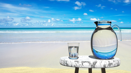 Travel agency tempting vision, perfect hols, vacation in paradise -  blue sky, yellow sand on a beach and a turquoise sea, seaside,symbolizes peace, holidays Stock Photo