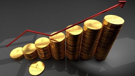 Ethereum currency, cyber, blockchain based, digital, crypto currency, bitcoin alternative, creciente gráfico rojo simboliza el aumento reciente en popularidad y valor de mercado, ilustración 3d