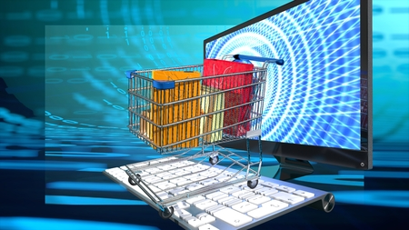 Shopping e commerce cart with presents and shopping bags on a computer keyboard, emerging from the computer screen, symbolizes online shopping, internet busines,blue binary digital background Stock Photo