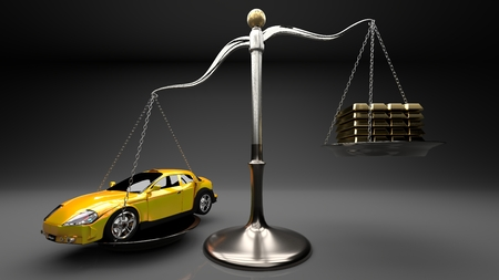 Overpriced goods lead to excesive loans and debt spiral. Prices not always are justified by manufacturing cost. Yellow sport car on a scale with golden bars, grey background