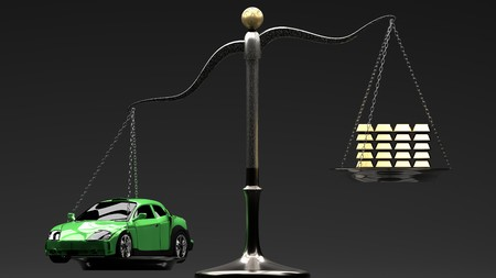 Overpriced goods lead to excesive loans and debt spiral. Prices not always are justified by manufacturing cost. Green sport car on a scale with golden bars, grey background