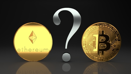 Ethereum and bitcoin, eth and btc, two rival digital, cyberspace crypto currencies that are rapidly raising in value and revolutionize currencies market, payments and digital economy, 3d illustration Stock Photo