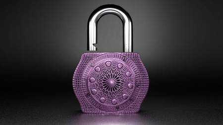 Extravagant, beautiful expensive looking small pink lock, close up, isolated on a dark grey background