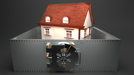 Small white house with a roof made of red shingles surrounded by a metal wall secured by a round metal bank vault doors, grey background, isolated, symbolizes high house prices and mortgages