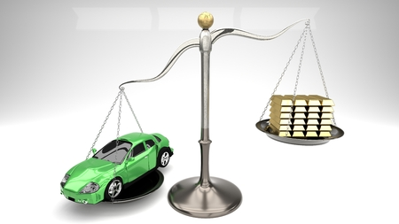 Paying too high price for common overpriced goods like a car often leads to uncontrolled loans and risky loans. This may end up in bankruptcy. Symbolized by a green car on a scale with stack of gold. Stock Photo