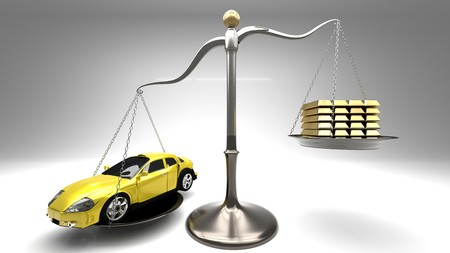 Overpriced goods lead to excessive loans and debt spiral. Prices not always are justified by manufacturing cost. Yellow sport car on a scale with golden bars, light gray background