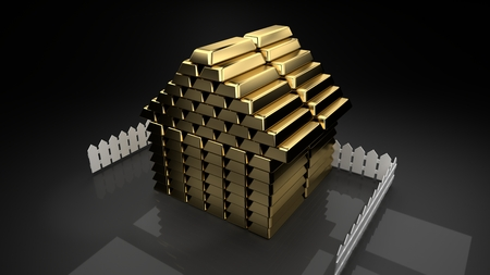 Golden house house built of gold bars surrounded by a small fence, grey background, symbolizes wealth, house prices, market booms, market bubbles, housing loans, big debt