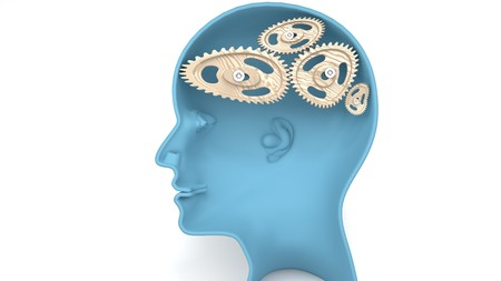 A fool - human head with twisted and misaligned wooden cogwheels inside, symbolizes stupidity, idiocy, being a dumb person