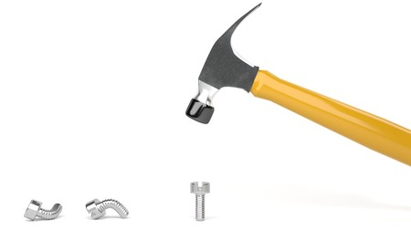 Hammer banging metal screws, symbolizes hard way or smart way, accurate solutions lead to success, efficiency, smartness, cleverness let you avoid  complications and hard work, optimize, be clever