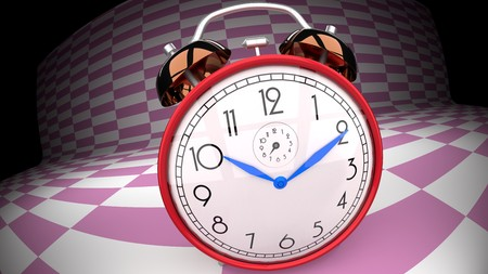 Abstract, trippy, alarm clock, pink checker background Banco de Imagens
