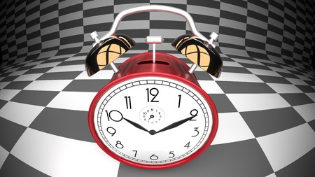 Wonderland alarm clock, curved checker background Stock Photo