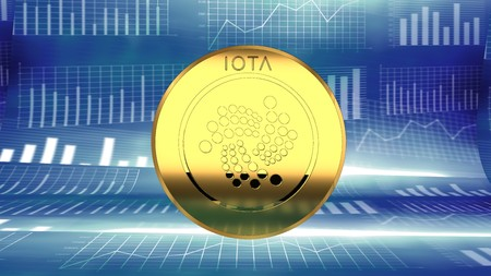 Iota, digital crypto currency market value rising - symbolized by a gold coin and blue digital background.
