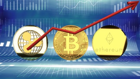 Ripple, bitcoin, ethereum,  digital crypto currency market value rising - symbolized by a gold coin and blue digital background.