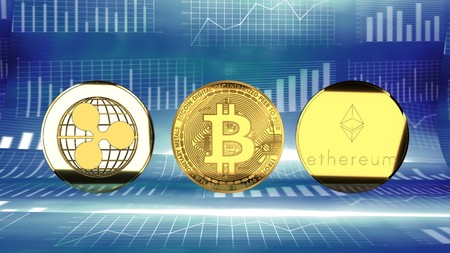 Ripple, bitcoin, ethereum, digital currency rising in market value - symbolized by a gold coin, red chart and blue digital background.
