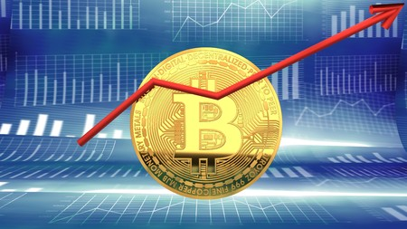 Bitcoin, digital crypto currency market value rising - symbolized by a gold coin and blue digital background.