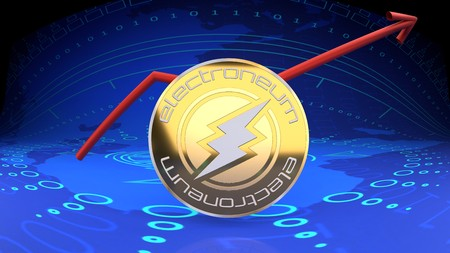Electroneum graph, digital currency rising in market value - symbolized by a gold coin and blue digital background.