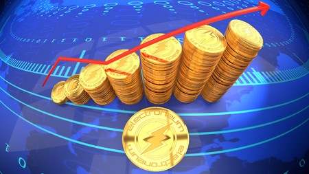 Ripple chart, currency rising in market value - symbolized by a gold coin and blue digital background. Zdjęcie Seryjne